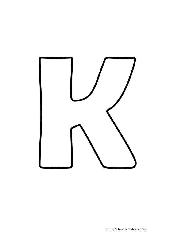 Letra K para imprimir grátis, moldes de letras