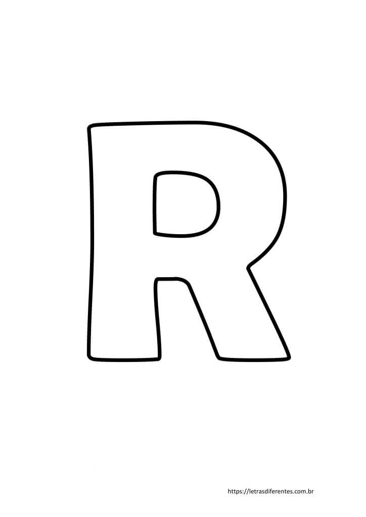 Letra R para imprimir grátis, moldes de letras