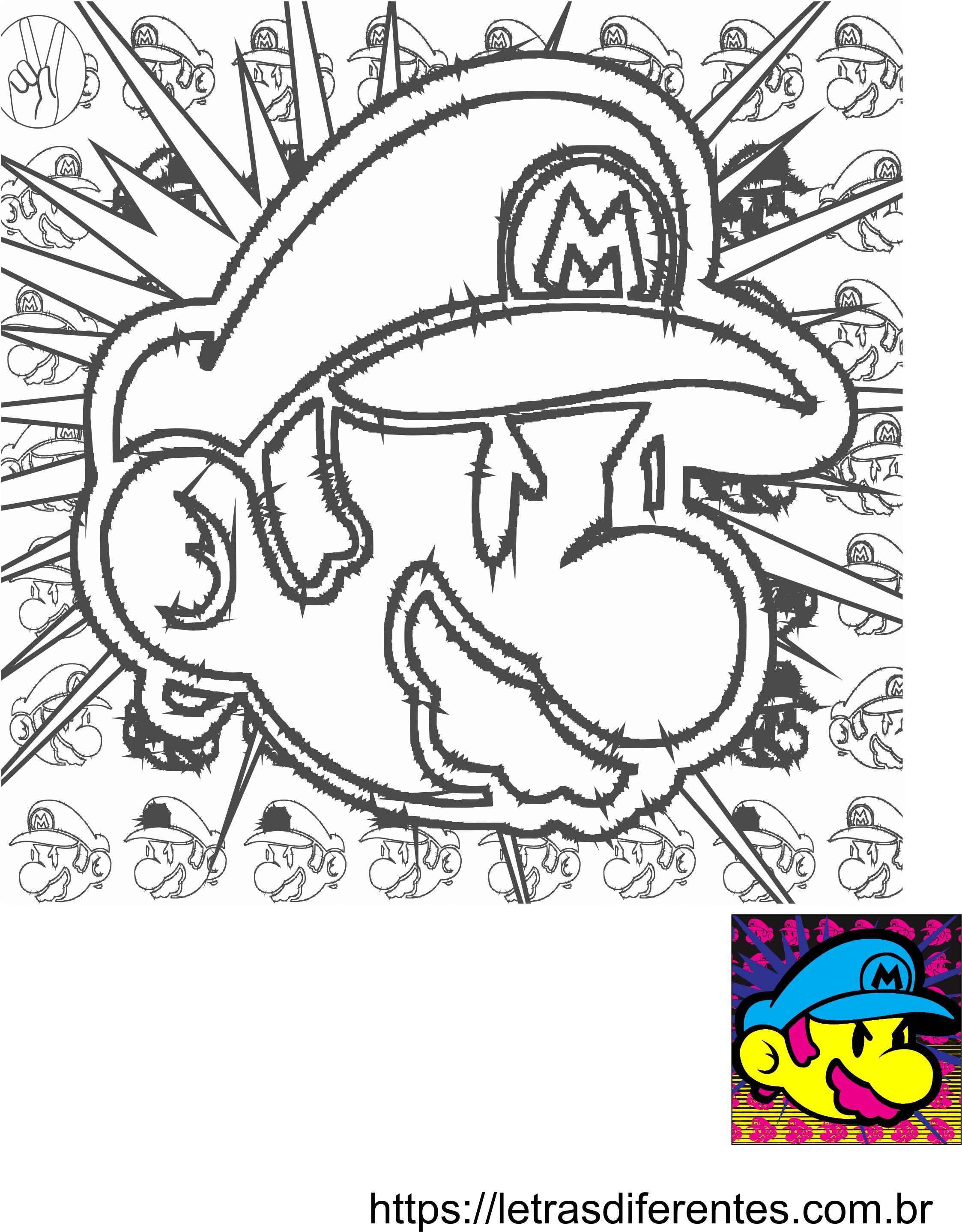 Desenho Super Mario Para Imprimir E Pintar Letras Diferentes